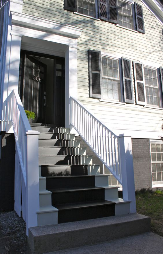 House Paint Exterior Exterior Stairs Exterior Brick: Painted Exterior Stair Runner And Dark Paint On Foundation