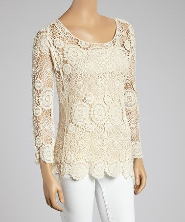 Look what I found on #zulily! Natural Beige Floral Crochet Scoop Neck Top - Women #zulilyfinds