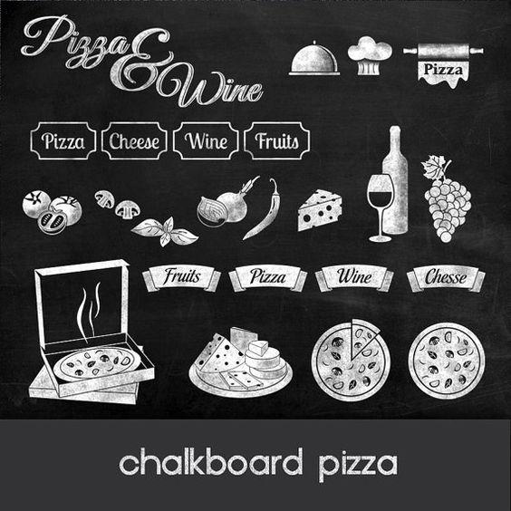 Pizza clipart pizza chalkboard 24 chalkboard pizza for Wine chalkboard art