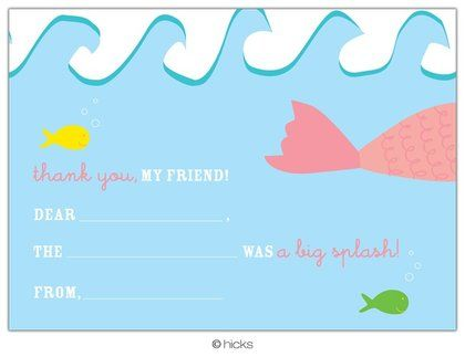Hicks Paper Goods Mermaid Fill-In Thank You - 8 ct - Free Shipping #YoYoBirthday