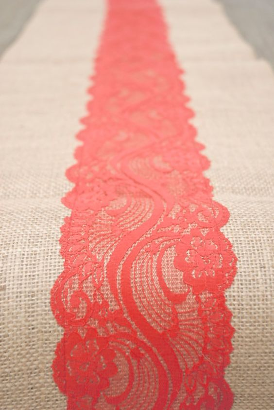 Beach Orange Coral Red Vermillion Lace Burlap Runner