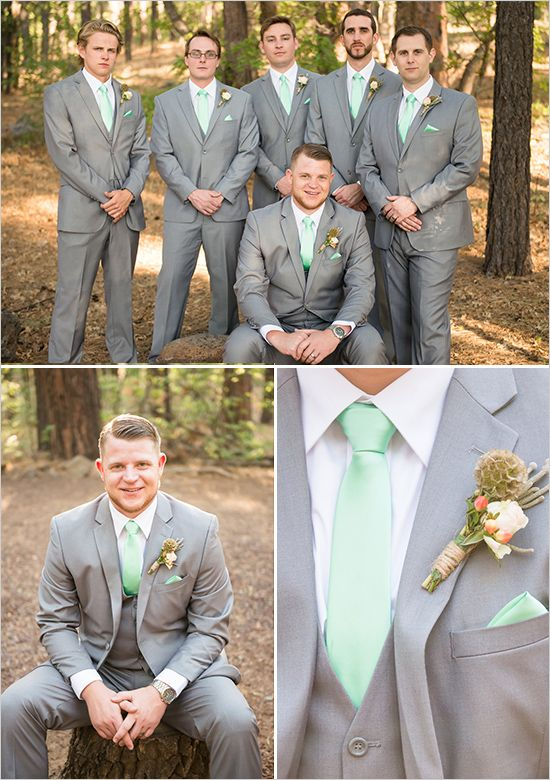 gray, mint and gray groomsman - this is like what I have picked for the boys- only the groomsmen won't have jackets they will have suspenders