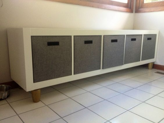 Storage bins paint and bookcases on pinterest for Expedit tv bench