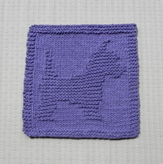Knit Dishcloth SCOTTIE YORKIE. Purple Lavender. Hand Knitted Unique Design, 100% Cotton Dish Cloth, Wash Cloth, Dust Cloth. Cute Dog Puppy.