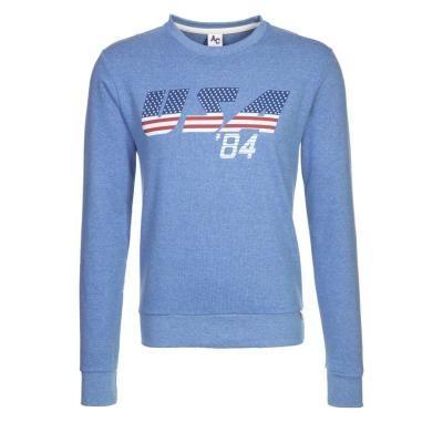 €59, Blauer bedruckter Pullover mit Rundhalsausschnitt von American College. Online-Shop: Zalando. Klicken Sie hier für mehr Informationen: https://lookastic.com/men/shop_items/91088/redirect
