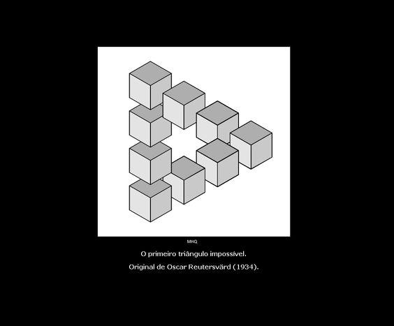 O primeiro triângulo impossível. [impossível]  Original de Oscar Reutersvärd (1934).