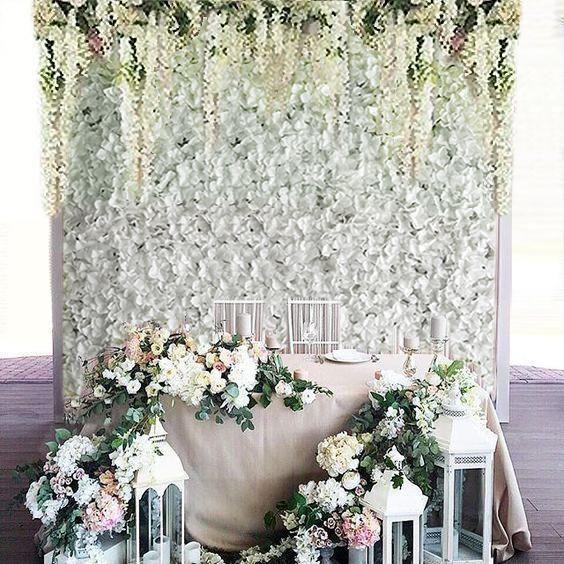 11 Sq Ft 4 Panels Uv Protected White Hydrangea Flower Wall Mat Panel Flower Wall Wall Backdrops Blue Hydrangea Flowers