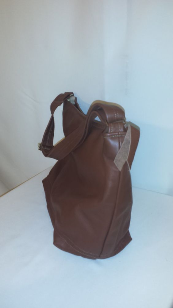 Large Brown Genuine Leather Tote by Lolitasgear on Etsy, $85.00