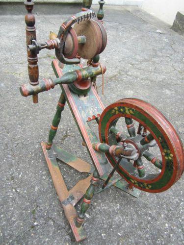 wunderschönes Spinnrad antik Nachlass massiv handbemalt * TOP * Ungarn ?   eBay