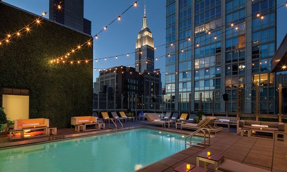 Rooftop Pool with Views of the Empire State Building, doesnt get much cooler for a Hotel....