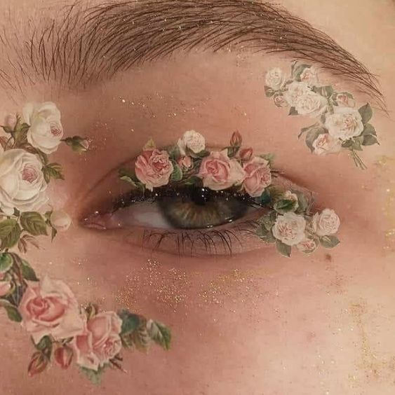 roses painted around an eye