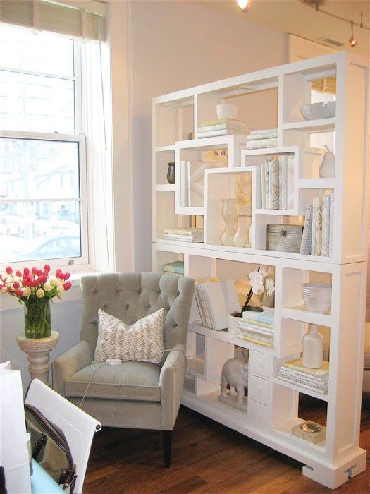 Divide a living space with a bookcase // The perfect idea for open living and dining rooms.: