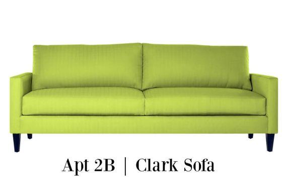 Decor Ideas: Apt 2B-Clark sofa in chartreuse. This sofa has a nice shape and the…
