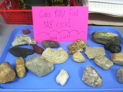 Student describes a rock's attributes, partner tries to find it.  I've done this with peanuts... but I like this better!
