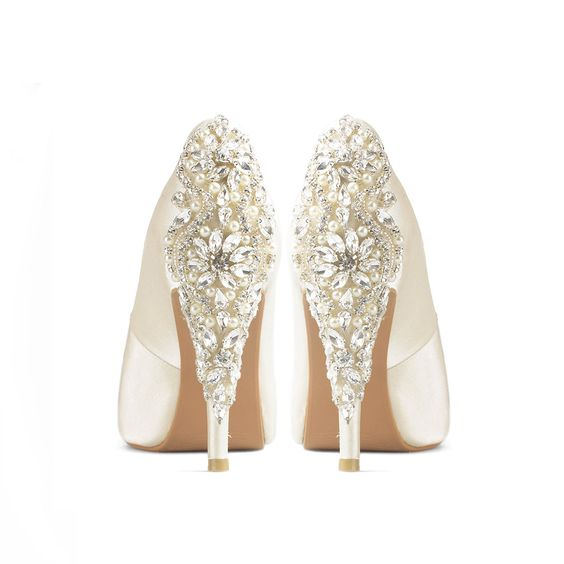 Precious Glitter Ivory Satin Wedding Shoes, Ivory Satin Bridal ...