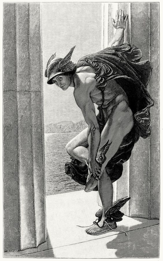Hermes, after a painting by W. B. Richmond.  From The magazine of art vol. 9, London, Paris, New York, Melbourne, 1886.  (Source: archive.org)  oldbookillustrations::