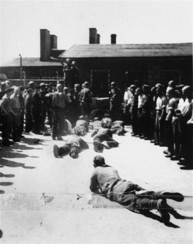 Los supervivientes y los soldados estadounidenses ven como ex guardias de las SS se ven obligados a arrastrarse por el suelo en el campo de concentración de Mauthausen. Un mal día para ser un nazi.