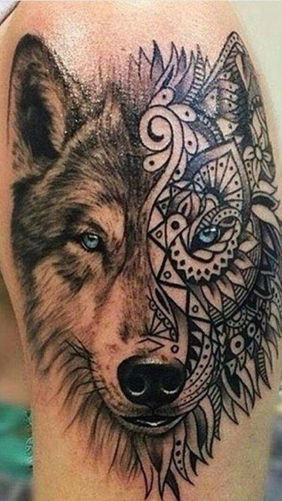 Wolf Tattoos Color Realistic Geometric 732 Photos Color Photos Geometric Rea Wo In 2020 Body Art Tattoos Tattoos For Guys Wolf Tattoos For Women