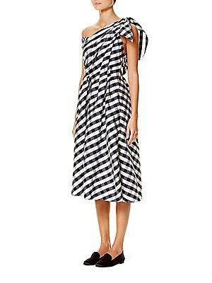 Carolina Herrera One-Shoulder Gingham Dress