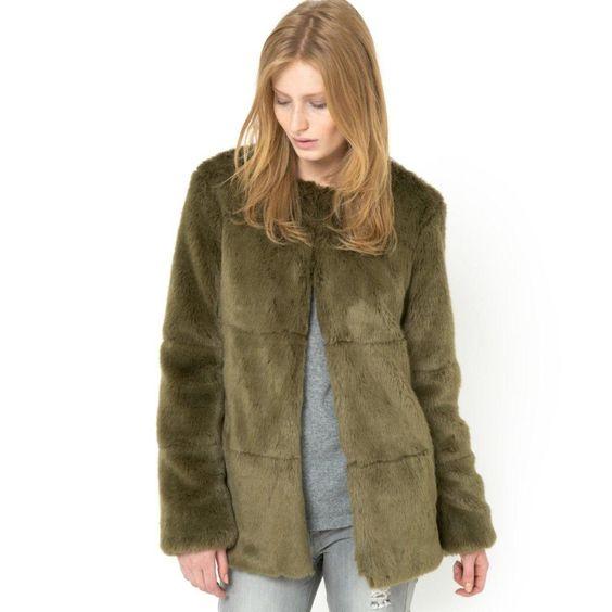 Χακί γούνινο παλτό