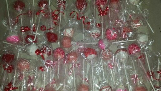 All the cake pops for the baby shower today