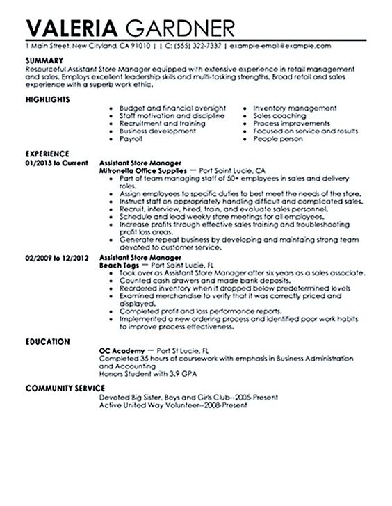 resume examples for retail store manager sample cover letter for - jewelry sales resume
