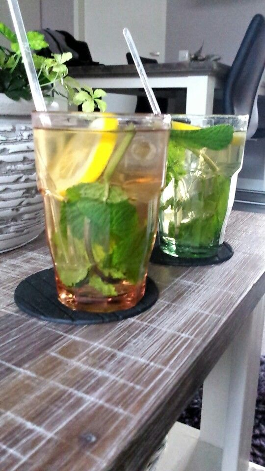 Ice tea green met citroen en munt!
