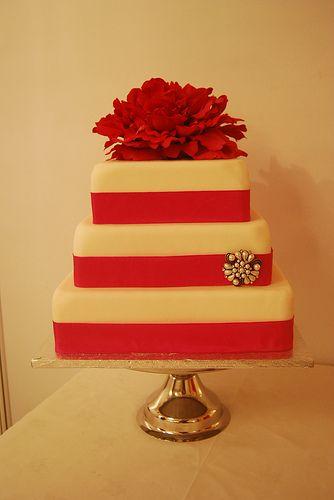 Deep Pink Peony Wedding Cake, #wedding #cake