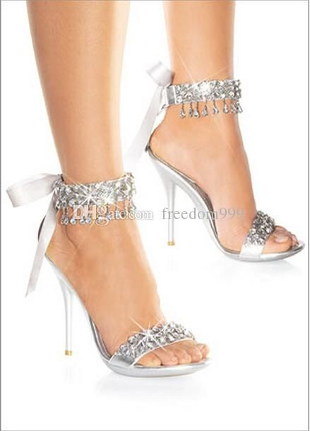 New Fashion Wedding Bridal Shoes Women'S Sandals High Heel Shoes Silver Bridal Shoes Rhinestone Shoes Wedding Shoes Strappy Sandals Skechers Sandals From Freedom999, $39.8| Dhgate.Com