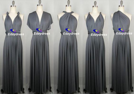 Bridesmaid Dress Dark Gray Charcoal Grey Floor Length Wrap Convertible Multi Ways Twist Infinity Dress