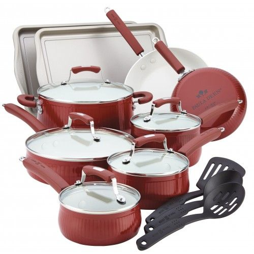 Paula Deen Savannah Collection Aluminum Nonstick 17-Piece Set, Red - PaulaDeensGeneralStore.com