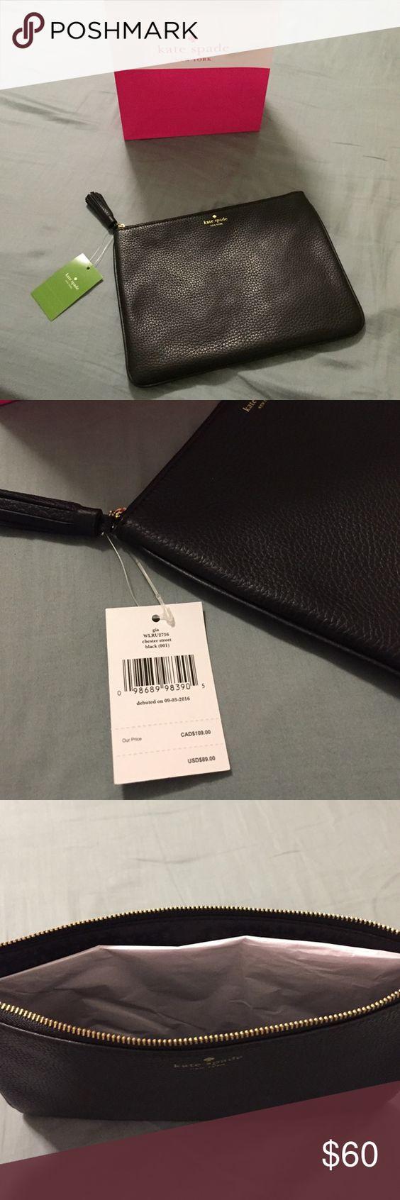 Kate Spade Gia Black Pouch/Cosmetic Bag Black leather, Black nylon on the inside, Zipper closure kate spade Bags Cosmetic Bags & Cases