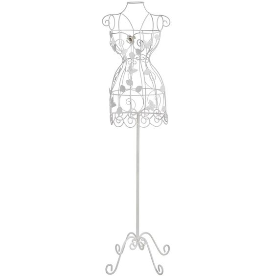 This Magnificent Shabby Chic Mannequin is a large free standing mannequin with a sturdy metal base. It is adorned with decorative leaves, roses and butterflies.