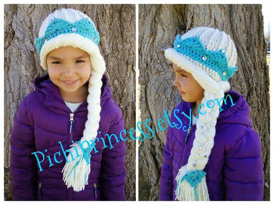Gefrorene Elsa Krone Hut, perfekt für Winterspaß! Volle Haare Stil Perücke Anzieh.