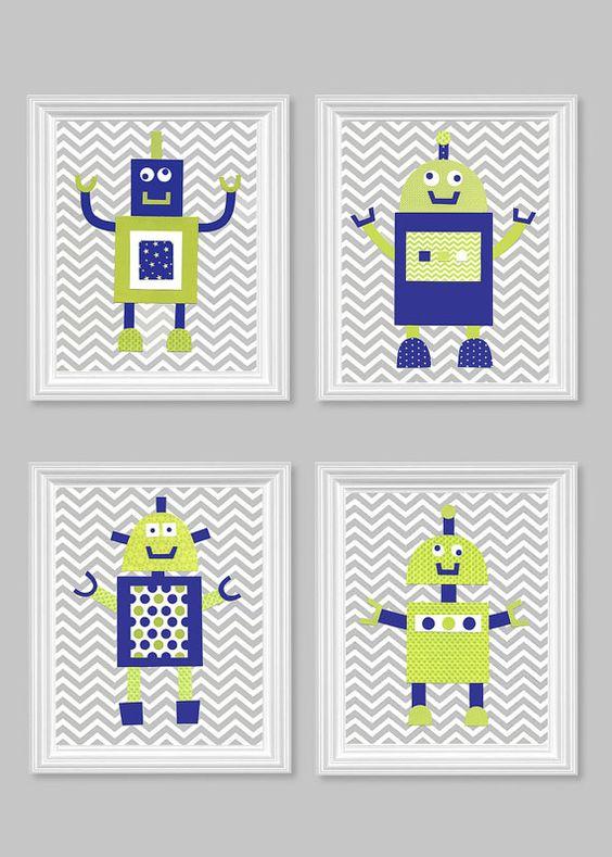 Robot nursery art citron green and navy blue gray chevron for Robot baby room decor