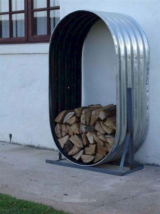 firewood storage design like a metal capsule #fireWoodStorage #firewoodrack #firewood #firewoodideas #organization #shelves