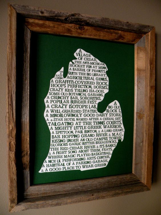 East Lansing In A Nutshell Word Art Map Print by fortheloveofmaps, $22.00 - to my soon-to-be sister-in-law, and fellow spartan!