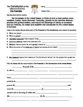 U. S. Constitution: Preamble and Bill of Rights Worksheets ...