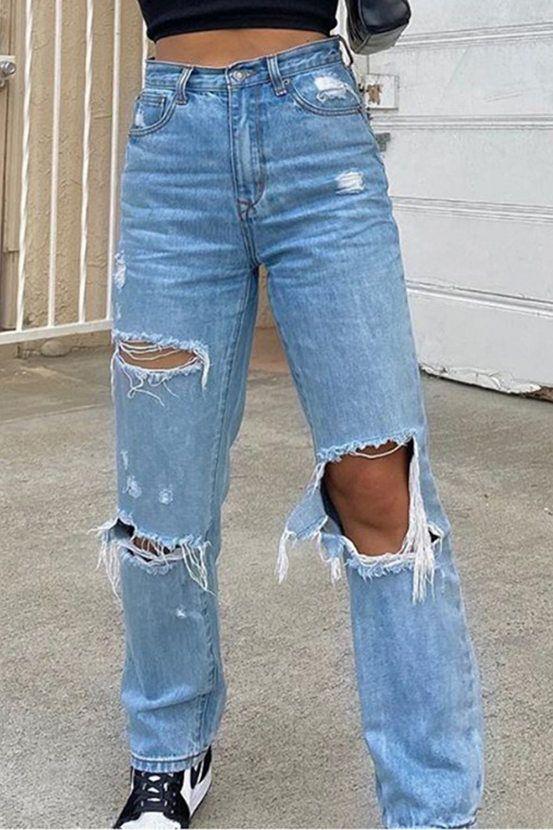 Look calça destroyed jeans