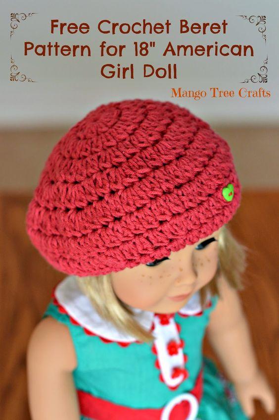 Crochet Beret Pattern for American Girl Doll | Makayla AG ...