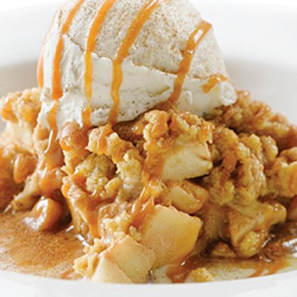 Most delicious when warm from the oven!. Apple Crumble and Ice Cream Recipe from Grandmothers Kitchen.