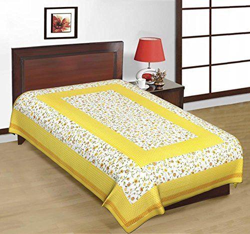 Odishabazaar Sanganeri Printed Cotton Single Bedsheet Bedcover in Yellow Odishabazaar http://www.amazon.com/dp/B01CFMJM9U/ref=cm_sw_r_pi_dp_T097wb0723W7Q