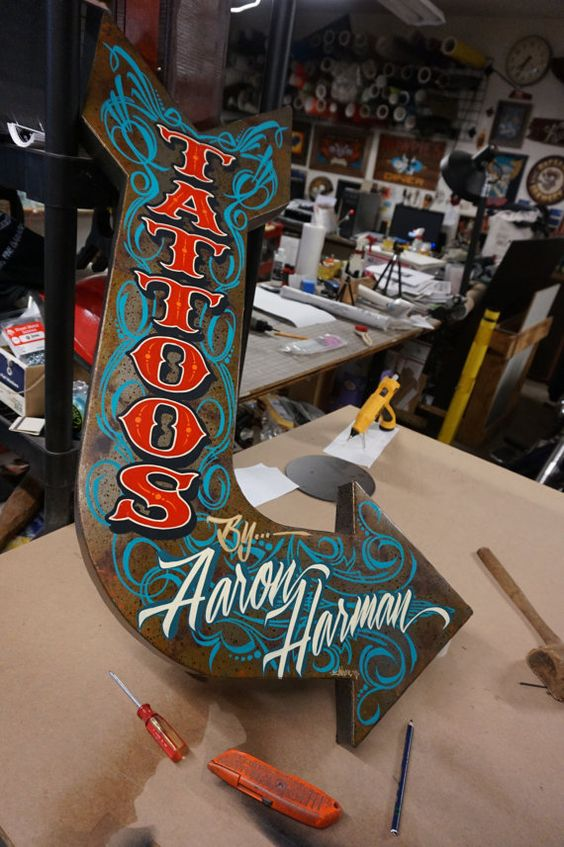 Vintage looking personalized Tattoo shop arrow sign