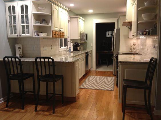 White galley kitchen home pinterest galley kitchen for Galley kitchen designs with breakfast bar