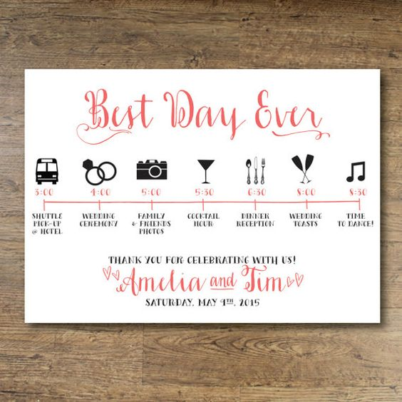 Printable Wedding Day Guest Itinerary Card  #RePin by AT Social Media Marketing - Pinterest Marketing Specialists ATSocialMedia.co.uk