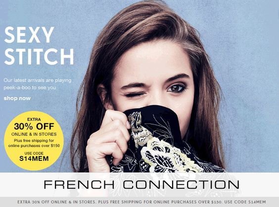 Pinned May 15th: 30% off at French #Connection, or online via promo code S14MEM #coupon via The #Coupons App