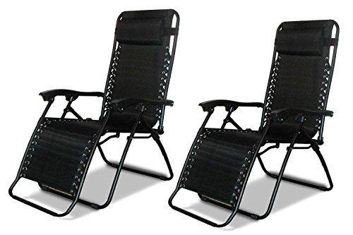 Eazilife 2x Chaises pliantes Zero Gravity fauteuils
