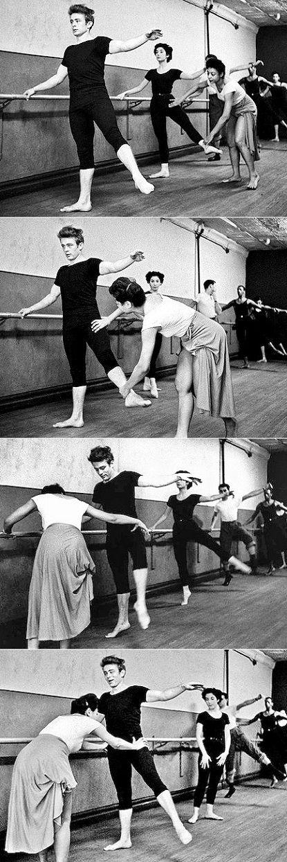 James Dean attending a dance class with Katherine Dunham. New York, 1955. (Dennis Stock)