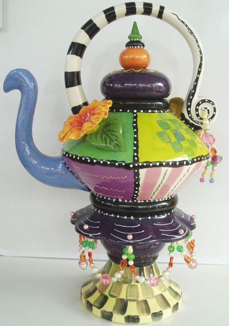 "#99X Super Funky Carnival Teapot with Beaded Handle & Base, 15""H"