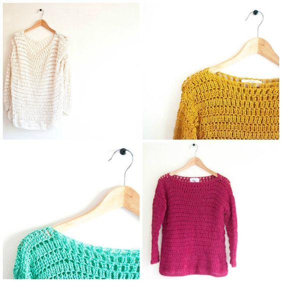 ♢ El ♢ suéter de verano  Patrón de ganchillo ★ para el suéter de la mujer de un gran tamaño. ★ Perfecto para cualquier edad. ★ Fácil de modificar. ★